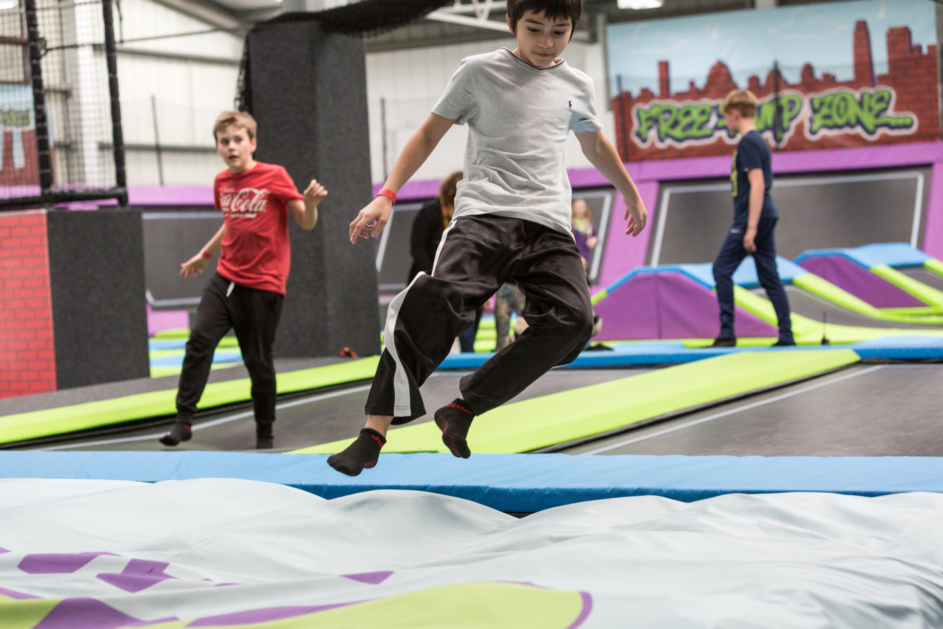 Walk the wall at Sky High Trampoline Park